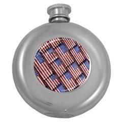Usa Flag Grunge Pattern Round Hip Flask (5 oz)