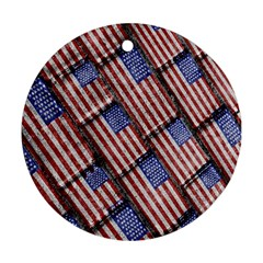 Usa Flag Grunge Pattern Round Ornament (Two Sides)