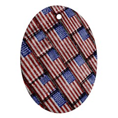 Usa Flag Grunge Pattern Oval Ornament (Two Sides)