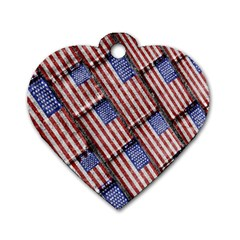 Usa Flag Grunge Pattern Dog Tag Heart (Two Sides)
