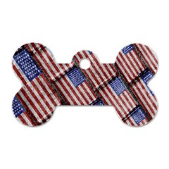 Usa Flag Grunge Pattern Dog Tag Bone (Two Sides)