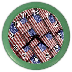 Usa Flag Grunge Pattern Color Wall Clocks