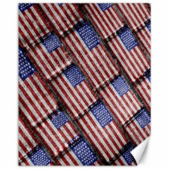 Usa Flag Grunge Pattern Canvas 11  x 14