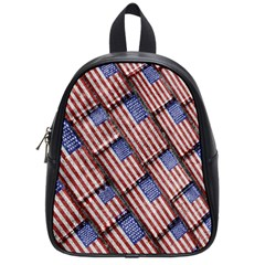 Usa Flag Grunge Pattern School Bags (Small)