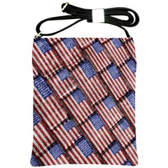 Usa Flag Grunge Pattern Shoulder Sling Bags