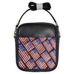 Usa Flag Grunge Pattern Girls Sling Bags
