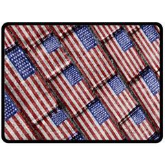 Usa Flag Grunge Pattern Fleece Blanket (Large)