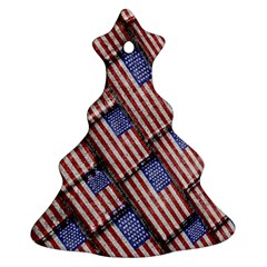 Usa Flag Grunge Pattern Christmas Tree Ornament (Two Sides)