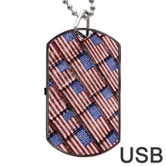 Usa Flag Grunge Pattern Dog Tag USB Flash (One Side)