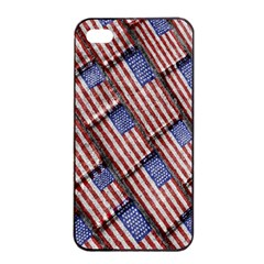 Usa Flag Grunge Pattern Apple iPhone 4/4s Seamless Case (Black)