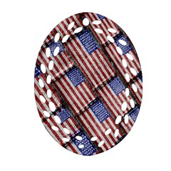 Usa Flag Grunge Pattern Oval Filigree Ornament (Two Sides)