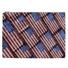 Usa Flag Grunge Pattern Cosmetic Bag (XXL)