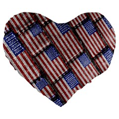 Usa Flag Grunge Pattern Large 19  Premium Heart Shape Cushions