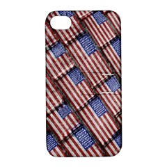 Usa Flag Grunge Pattern Apple iPhone 4/4S Hardshell Case with Stand