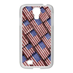 Usa Flag Grunge Pattern Samsung GALAXY S4 I9500/ I9505 Case (White)