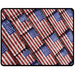 Usa Flag Grunge Pattern Double Sided Fleece Blanket (Medium)