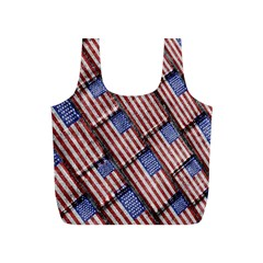 Usa Flag Grunge Pattern Full Print Recycle Bags (S)