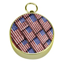 Usa Flag Grunge Pattern Gold Compasses