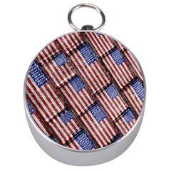 Usa Flag Grunge Pattern Silver Compasses