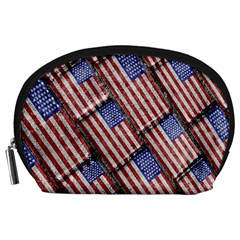 Usa Flag Grunge Pattern Accessory Pouches (Large)