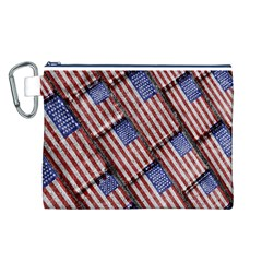 Usa Flag Grunge Pattern Canvas Cosmetic Bag (L)