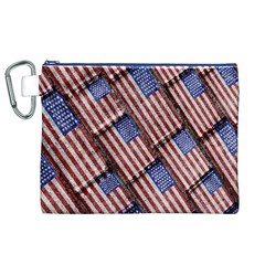 Usa Flag Grunge Pattern Canvas Cosmetic Bag (XL)