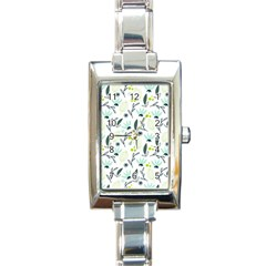 Hand drawm seamless floral pattern Rectangle Italian Charm Watch