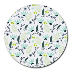 Hand drawm seamless floral pattern Round Mousepads