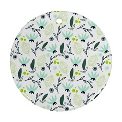 Hand drawm seamless floral pattern Ornament (Round)