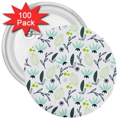 Hand drawm seamless floral pattern 3  Buttons (100 pack)