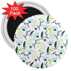 Hand drawm seamless floral pattern 3  Magnets (100 pack)
