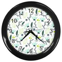 Hand drawm seamless floral pattern Wall Clocks (Black)