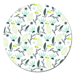 Hand drawm seamless floral pattern Magnet 5  (Round)