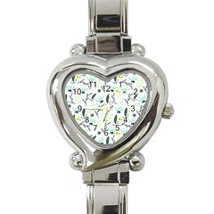 Hand drawm seamless floral pattern Heart Italian Charm Watch
