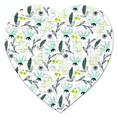 Hand drawm seamless floral pattern Jigsaw Puzzle (Heart)