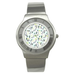 Hand drawm seamless floral pattern Stainless Steel Watch