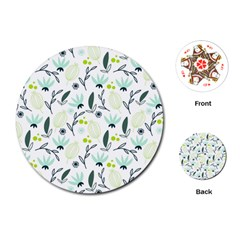 Hand drawm seamless floral pattern Playing Cards (Round)