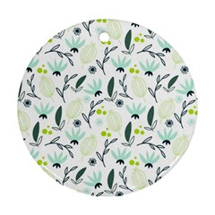 Hand drawm seamless floral pattern Round Ornament (Two Sides)