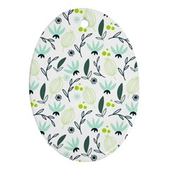Hand drawm seamless floral pattern Oval Ornament (Two Sides)