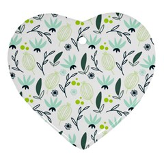Hand drawm seamless floral pattern Heart Ornament (Two Sides)