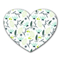 Hand drawm seamless floral pattern Heart Mousepads