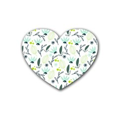 Hand drawm seamless floral pattern Rubber Coaster (Heart)