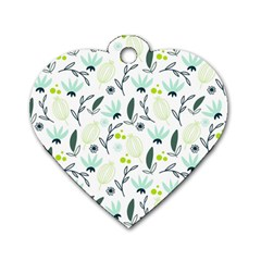 Hand drawm seamless floral pattern Dog Tag Heart (Two Sides)