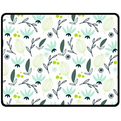 Hand drawm seamless floral pattern Fleece Blanket (Medium)