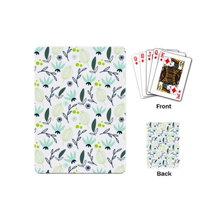 Hand drawm seamless floral pattern Playing Cards (Mini)