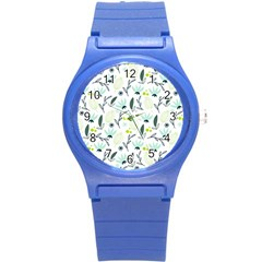 Hand drawm seamless floral pattern Round Plastic Sport Watch (S)