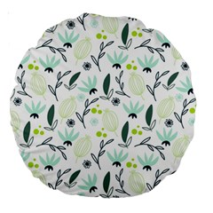Hand drawm seamless floral pattern Large 18  Premium Round Cushions