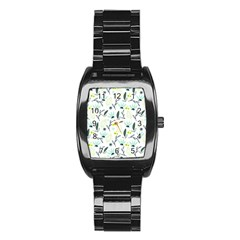 Hand drawm seamless floral pattern Stainless Steel Barrel Watch