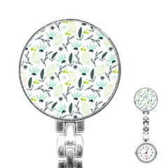 Hand drawm seamless floral pattern Stainless Steel Nurses Watch