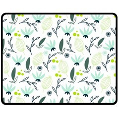 Hand drawm seamless floral pattern Double Sided Fleece Blanket (Medium)